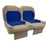 Paramount custom Club Car Precedent golf cart front seat assembly in tan and blue with pockets.
