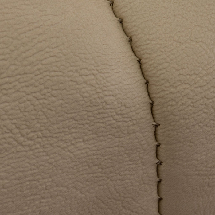 Stitching feature on Paramount custom golf cart front seat assembly in tan and red.