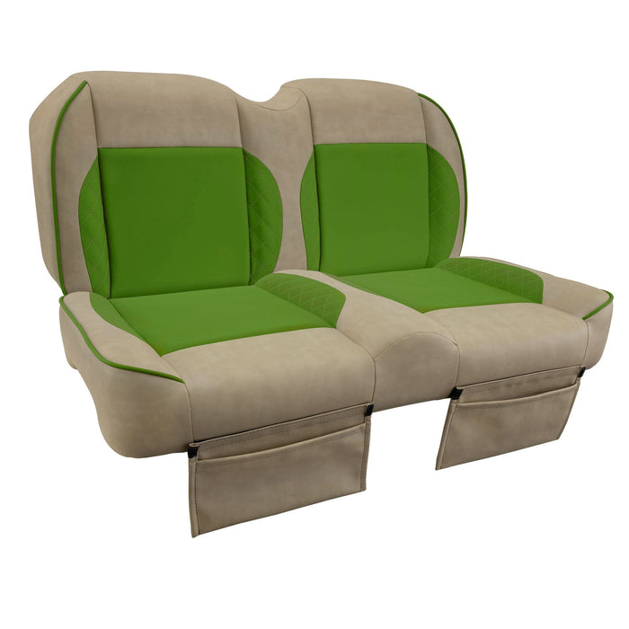 Paramount custom Club Car Precedent golf cart front seat assembly in tan and green with pockets.