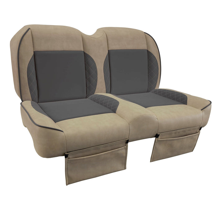 Paramount custom Club Car Precedent golf cart front seat assembly in tan and gray with pockets.