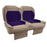 Paramount custom Club Car Precedent golf cart front seat assembly in tan and purple with pockets.