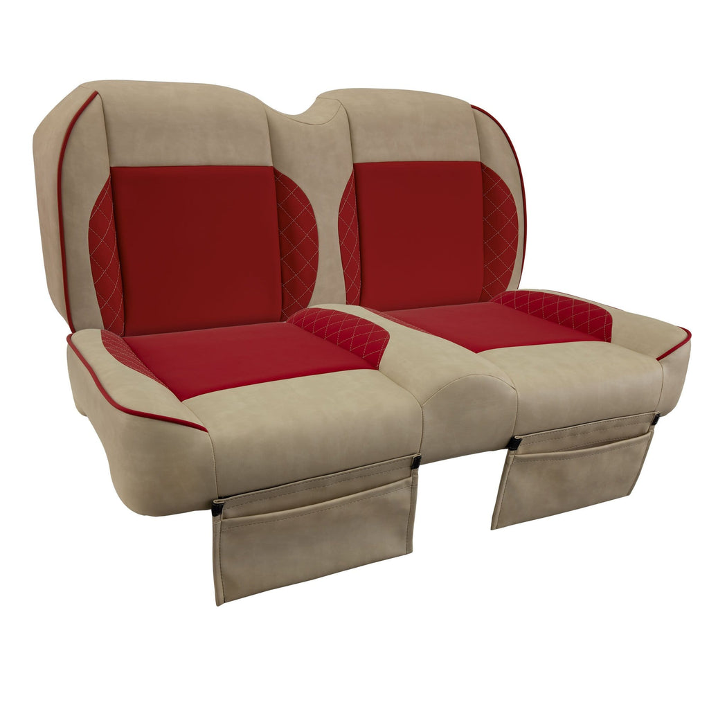 Paramount custom Club Car Precedent golf cart front seat assembly in tan and red with pockets.