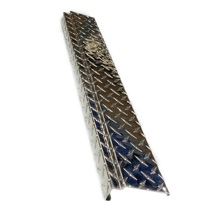 Polished aluminum diamond plate rear bumper cover for Club Car DS golf cart.