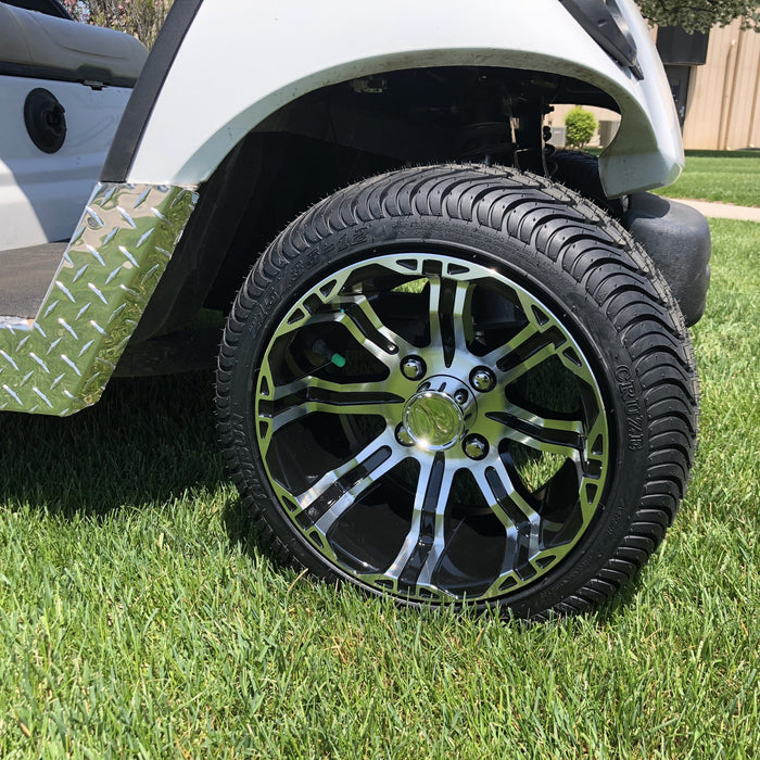 "12"" wheel and turf tire combo installed on Yamaha Drive G29 golf cart."
