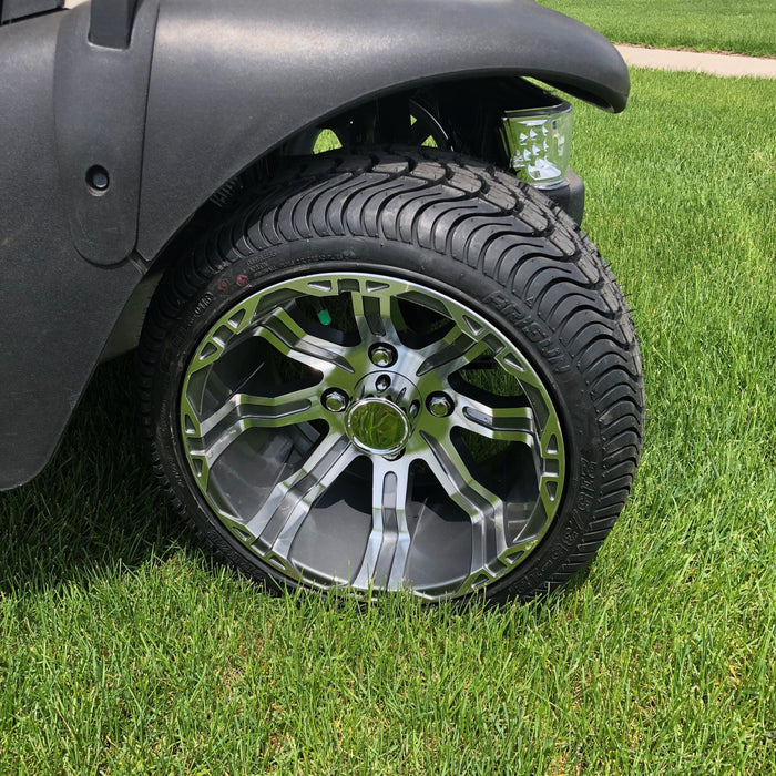 "Gunmetal 12"" wheel and turf tire combo installed on Club Car Precedent with no lift kit."