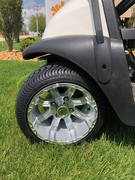 "Silver 12"" wheel and turf tire combo installed on Club Car Precedent with no lift kit."