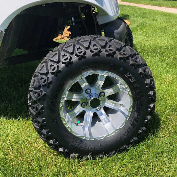Silver finish on off road wheel and tire combo for lifted golf cart.