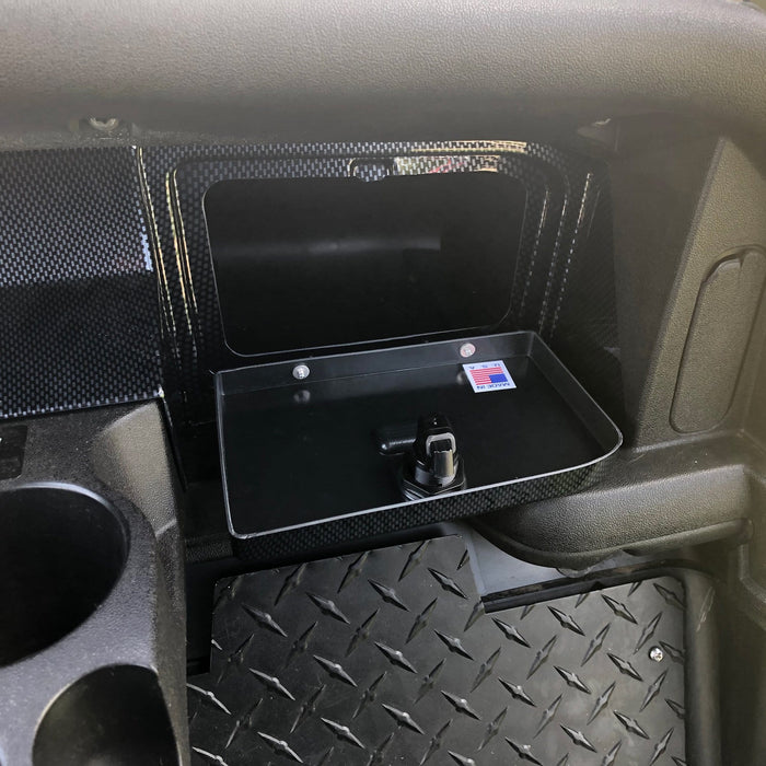 Photo displaying locking glove box door on carbon fiber dash for EZGO RXV model all years golf carts.