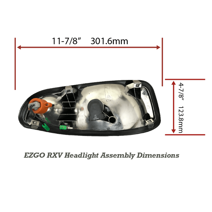 EZGO RXV Halogen Headlight Replacement Dimensions