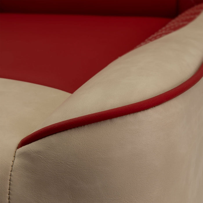 Accent color piping on Paramount custom golf cart front seat assembly in tan and red.