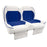 Paramount custom Club Car Precedent golf cart front seat assembly in white and blue with pockets.