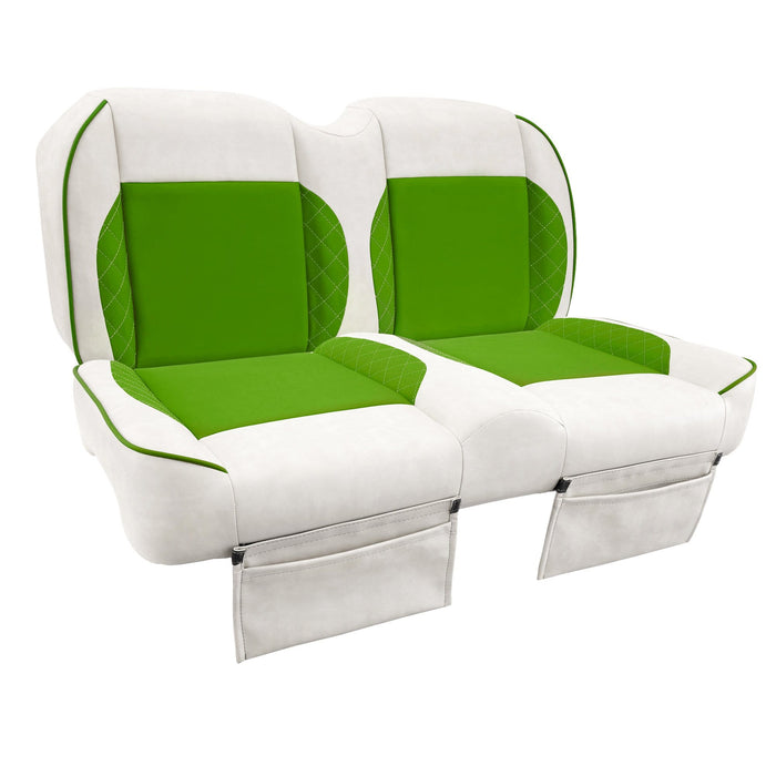 Paramount custom Club Car Precedent golf cart front seat assembly in white and green with pockets.