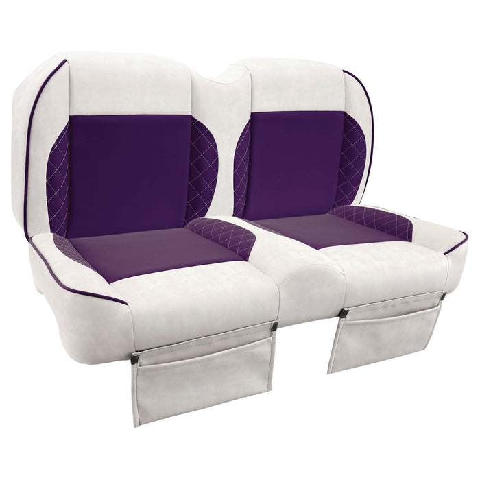 Paramount custom Club Car Precedent golf cart front seat assembly in white and purple with pockets.