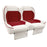 Paramount custom Club Car Precedent golf cart front seat assembly in white and red with pockets.