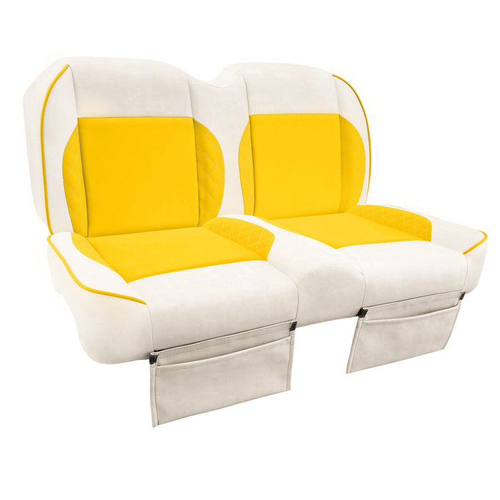 Paramount custom Club Car Precedent golf cart front seat assembly in white and yellow with pockets.