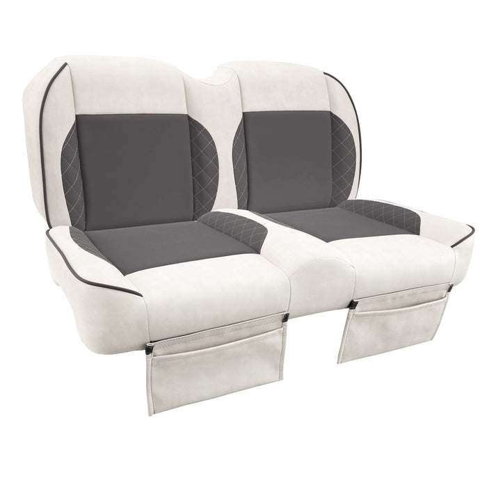 Paramount custom Club Car Precedent golf cart front seat assembly in white and grey with pockets.