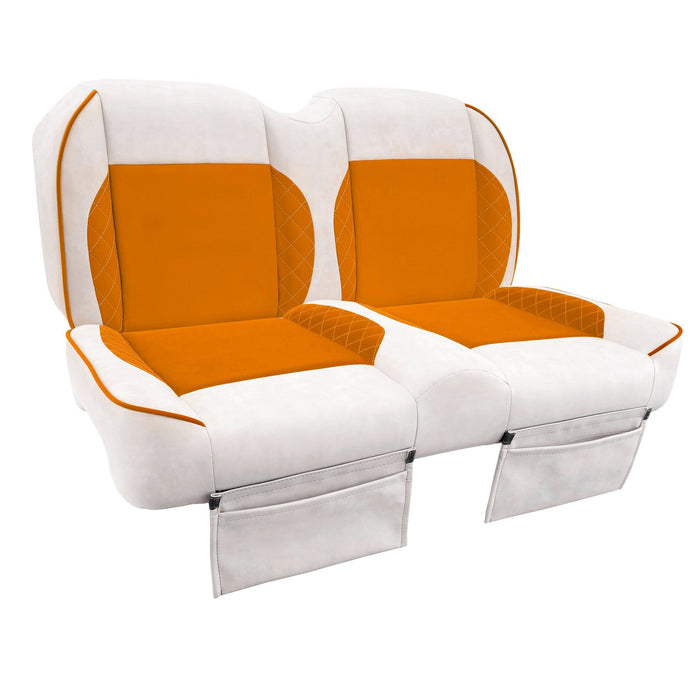 Paramount custom Club Car Precedent golf cart front seat assembly in white and orange with pockets.