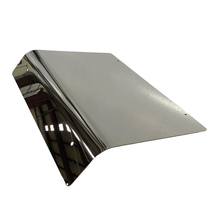 Mirror finish stainless steel access panel for Club Car DS model golf cart.