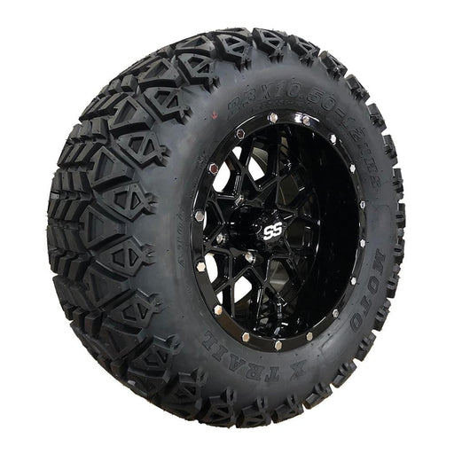 "Angled view of 12"" Matrix off-road golf cart gloss black wheel and tire combo set with 23"" off road tires."