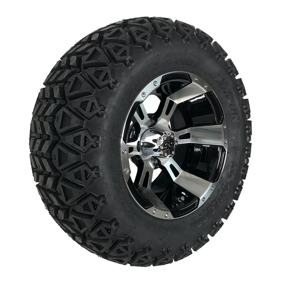 "Angled view of 12"" black and machined aluminum Stallion off-road golf cart wheel and tire combo set with 23"" off road tires."