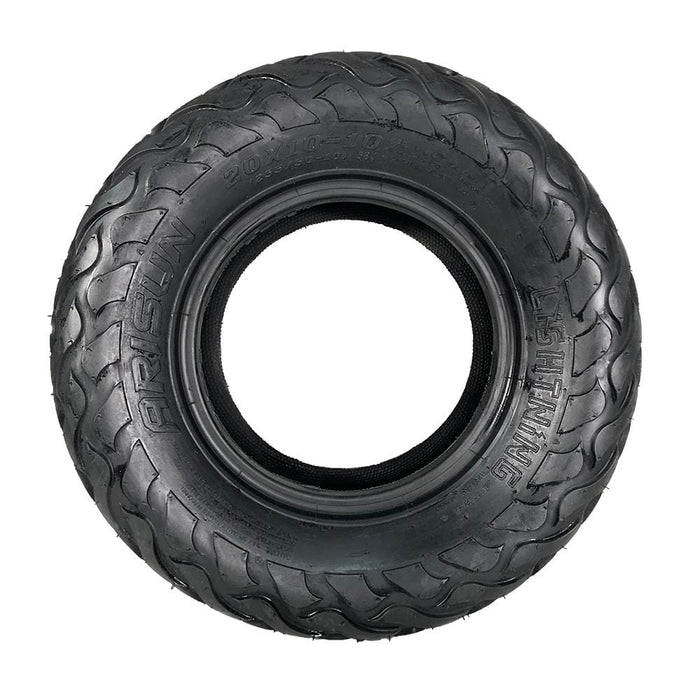 Side view of hybrid Lightning golf cart tire by Arisun in 20x10-10 size.