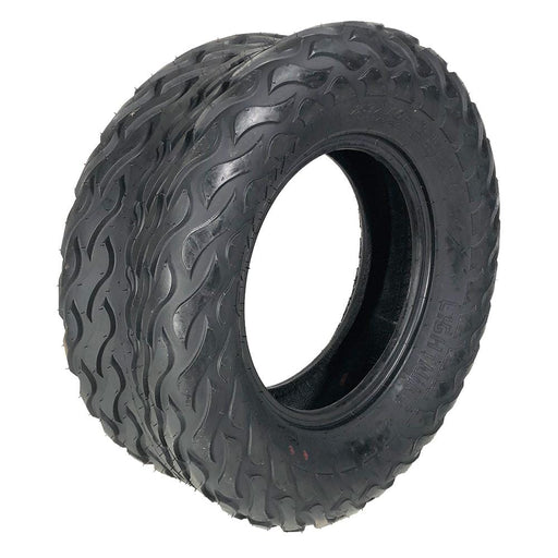 Angled view of 23x10-12 Arisun Lightning hybrid golf cart all terrain tire.