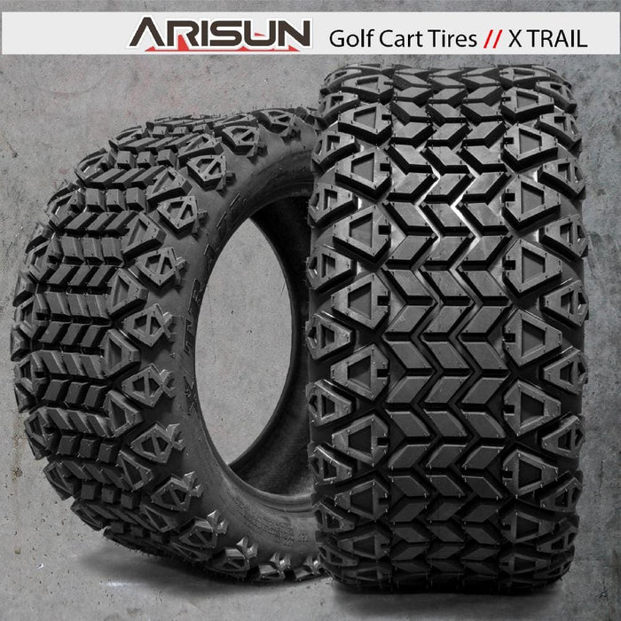 Feature photo of Arisun X-Trail off road all terrain golf cart tires.