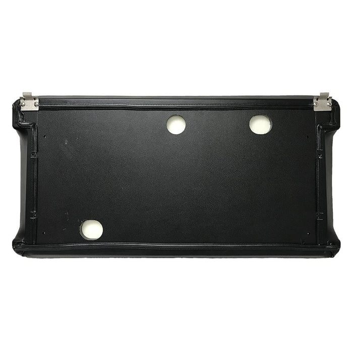 Golf cart replacement seat assembly for Club Car DS 2000 and newer in black featuring HDPE plastic backer.
