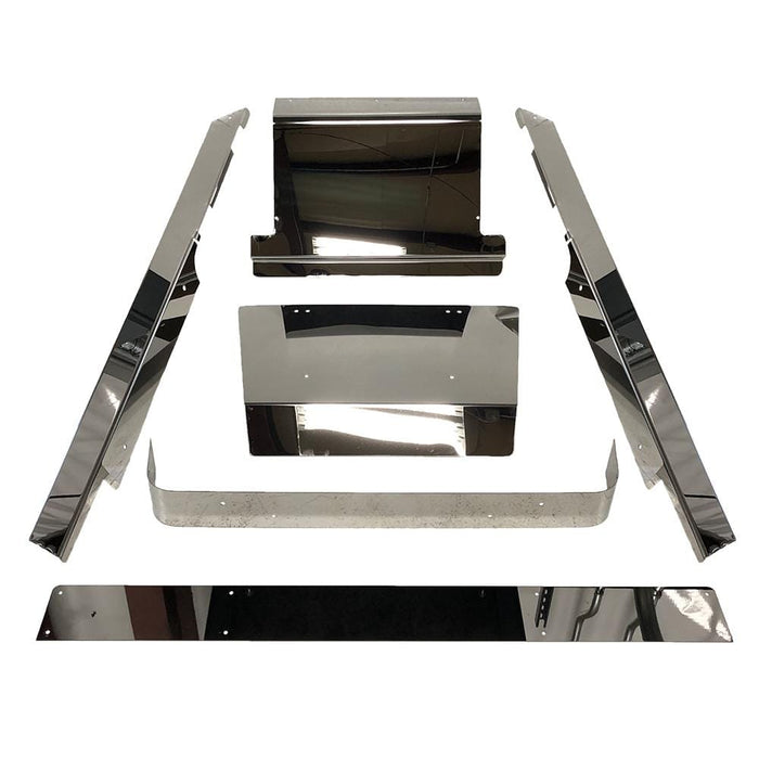 Stainless steel accessory panel bundle for EZGO TXT golf cart, including rocker panels, rear bumper, kick plate, shock cover, and access panel.
