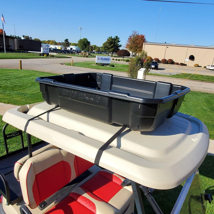 Cargo Caddie utility box for golf cart installed on roof.
