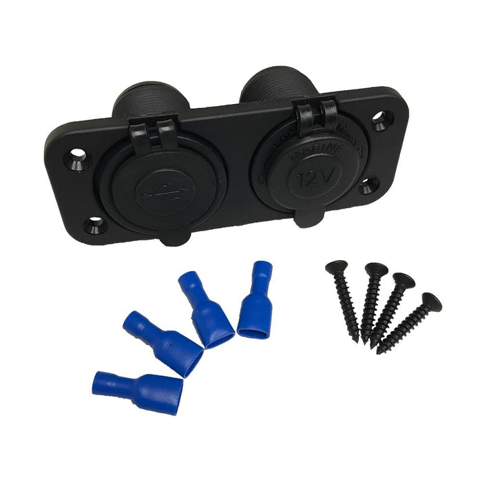 Contents of the golf cart universal usb 12 volt power socket accessory kit.