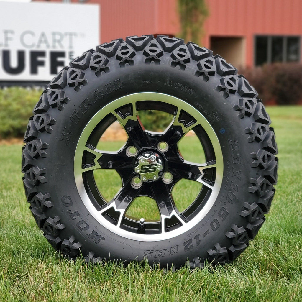 "12"" Crown off-road golf cart wheel and tire combo set with 23"" off road tires.."