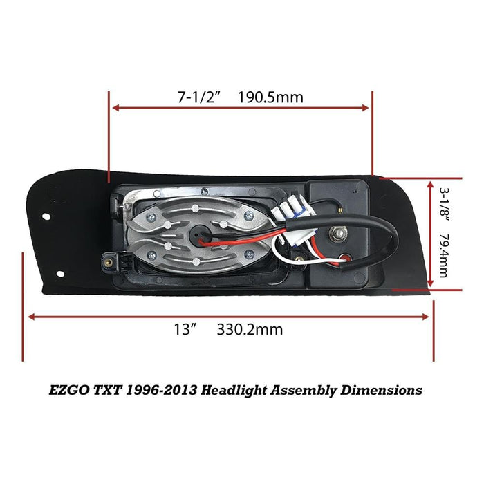 EZGO TXT LED Headlight Replacement Assembly Dimensions Measurements
