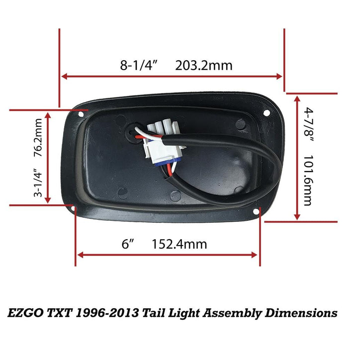 Overall dimensions for the LED replacement tail light set designed for the EZGO TXT model golf cart.