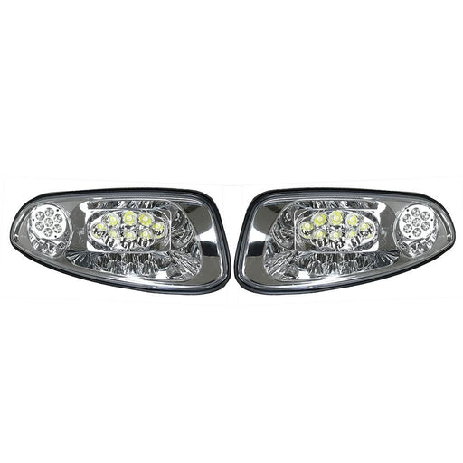 Pair of replacement LED headlight assemblies for EZGO RXV golf cart.