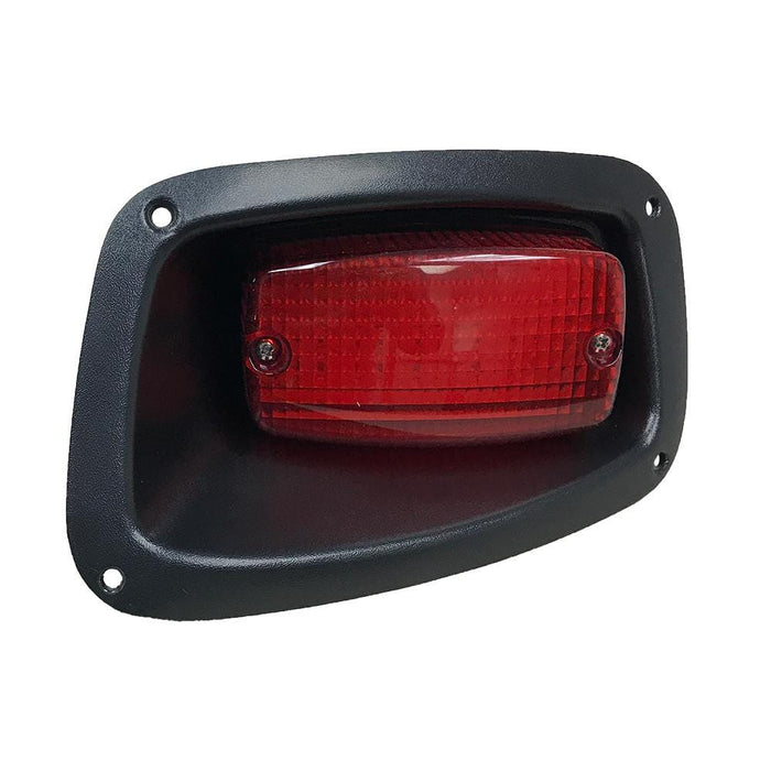 A passenger side LED replacement tail light for an EZGO TXT.