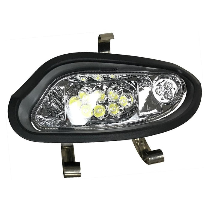 A driver side LED headlight assembly for an EZGO TXT Valor model 2014 and up.