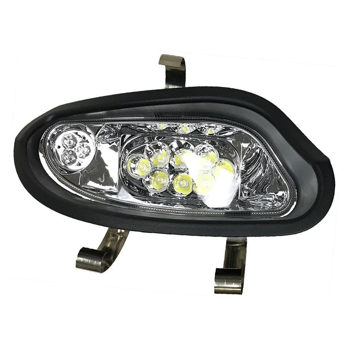 A passenger side LED headlight assembly for an EZGO TXT Valor model 2014 and up.