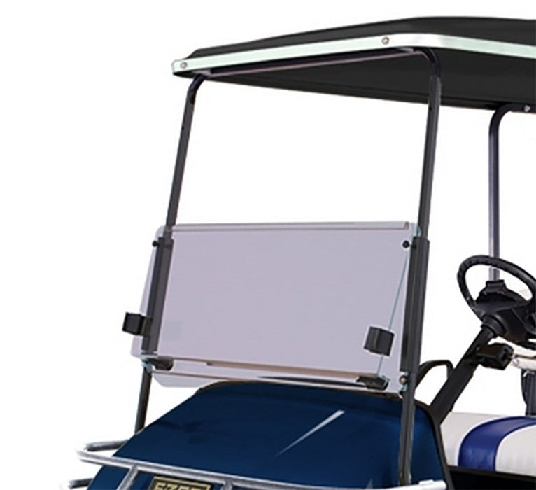 E-Z-GO TXT Tinted Golf Cart Folding Windshield Installed