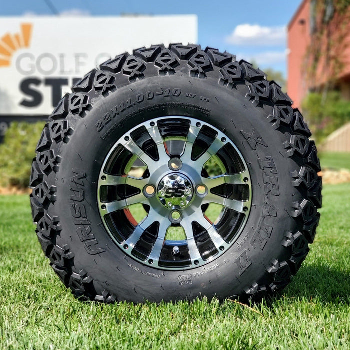 "10"" black and machined aluminum Flame off-road golf cart wheel and tire combo set with 22"" off road tires."