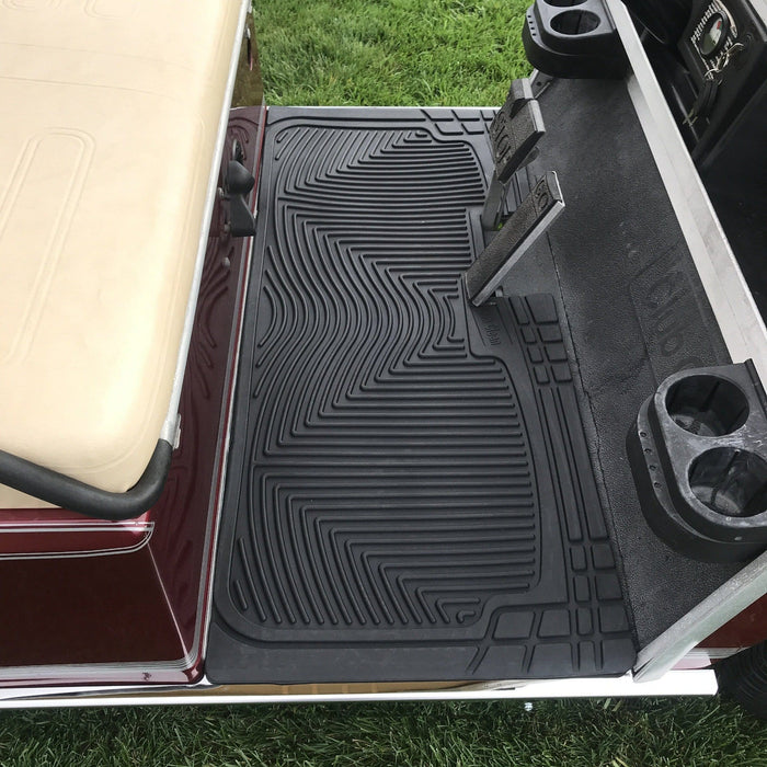 Club Car DS model golf cart heavy duty rubber floor mat installed.