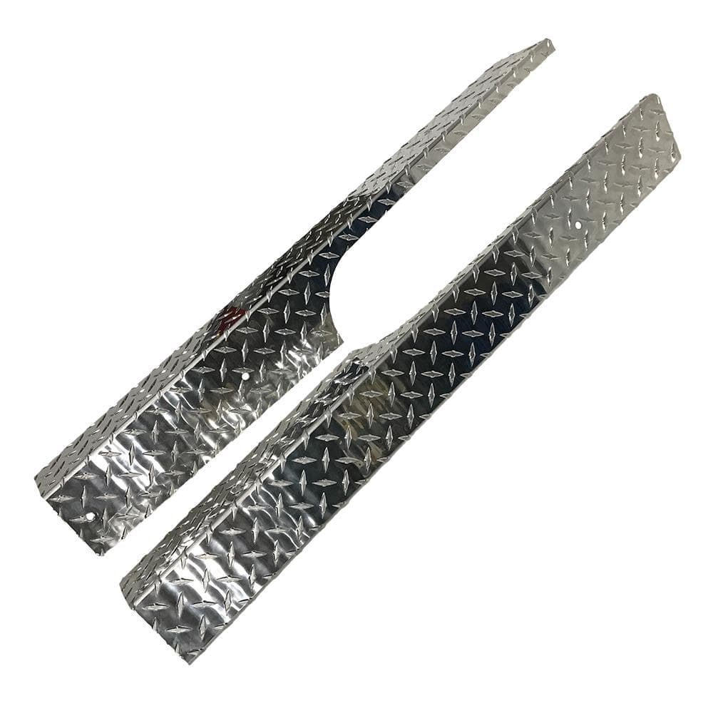 Diamond plated rocker panel set for EZGO RXV model golf cart.
