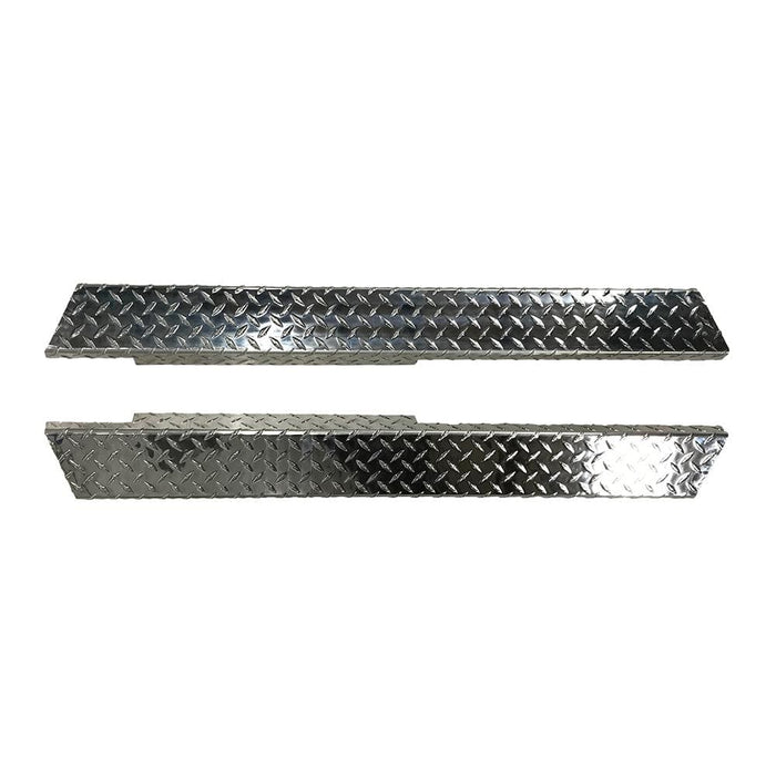 Diamond plated rocker panel set for Yamaha golf cart model G14, G16, G19, and G22.
