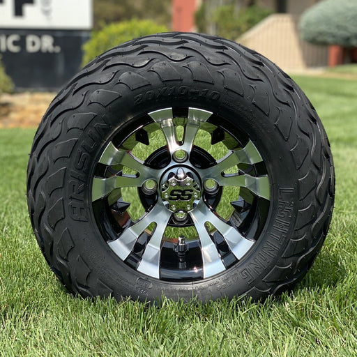 "10"" black and machined aluminum Gotham Vampire off-road golf cart wheel and tire combo set with 20"" Arisun tires."