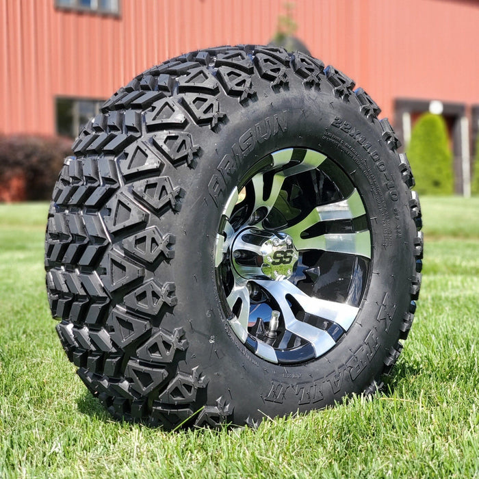 "Angled view of 10"" Vampire off-road golf cart wheel and tire combo set with 22"" off road tires."