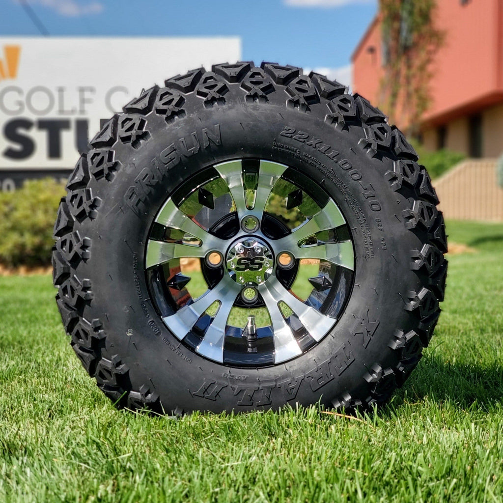 "10"" Vampire off-road golf cart wheel and tire combo set with 22"" off road tires."
