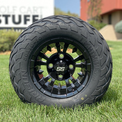 "10"" gloss black Vampire off-road golf cart wheel and tire combo set with 20"" Arisun tires.."