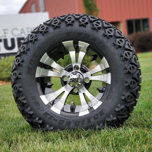 "12"" Vampire off-road golf cart wheel in black and tire combo set with 23"" off road tires.."