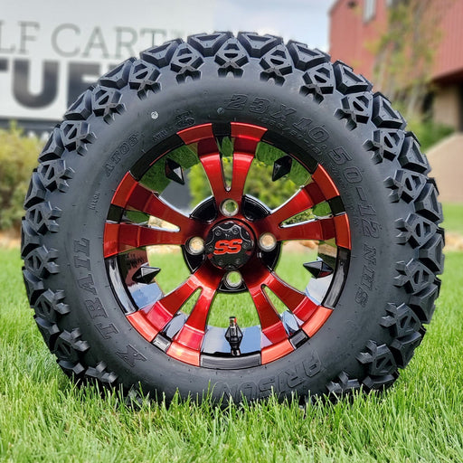 "12"" Vampire off-road golf cart wheel in black with red clearcoat and tire combo set with 23"" off road tires."
