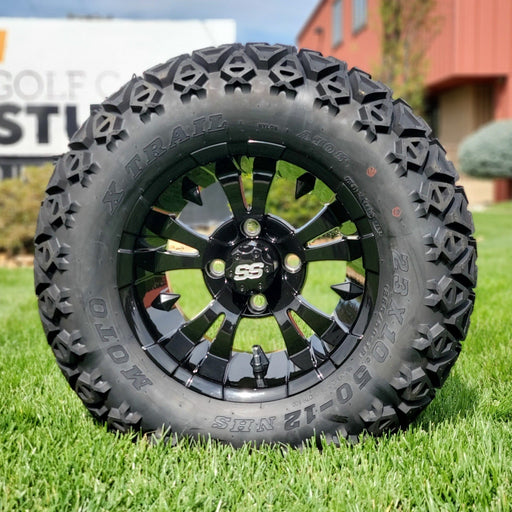 "12"" Vampire off-road golf cart wheel in gloss black and tire combo set with 23"" off road tires."